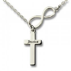 Infinity and Cross Name Necklace
