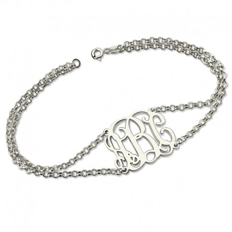 Monogram Bracelet with Doubel Chain