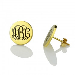 Circle Engraved Monogram Initial Earrings