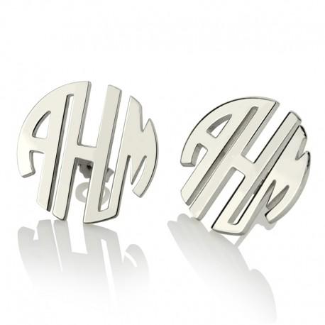 Block Monogram Stud Earrings
