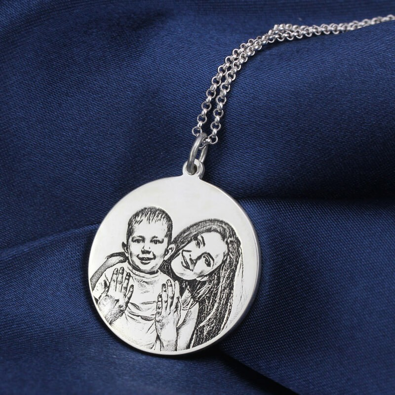 custom photo disc back-engraving necklace