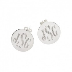 Silver Round Post Earrings (Greek)