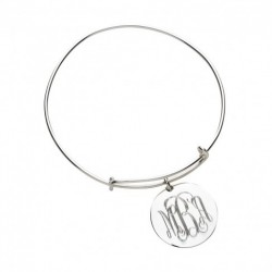 Silver Round Charm Bangle (Greek)