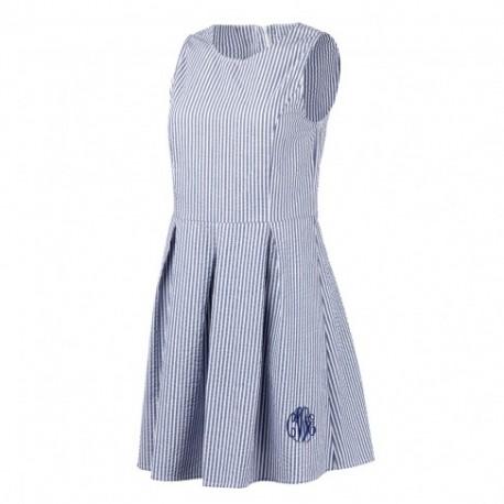 Navy Seersucker Dress