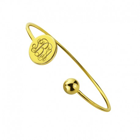 Disc Monogrammed Bangle Bracelet