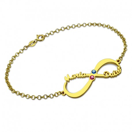 Infinity Two BirthSones and two Names Bracelet