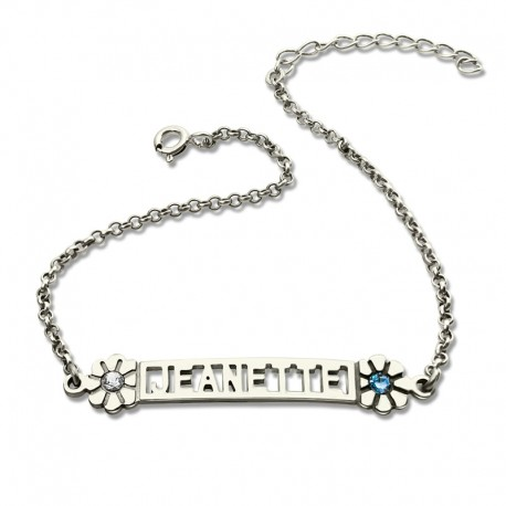 Nameplate Bracelet With BirthStones