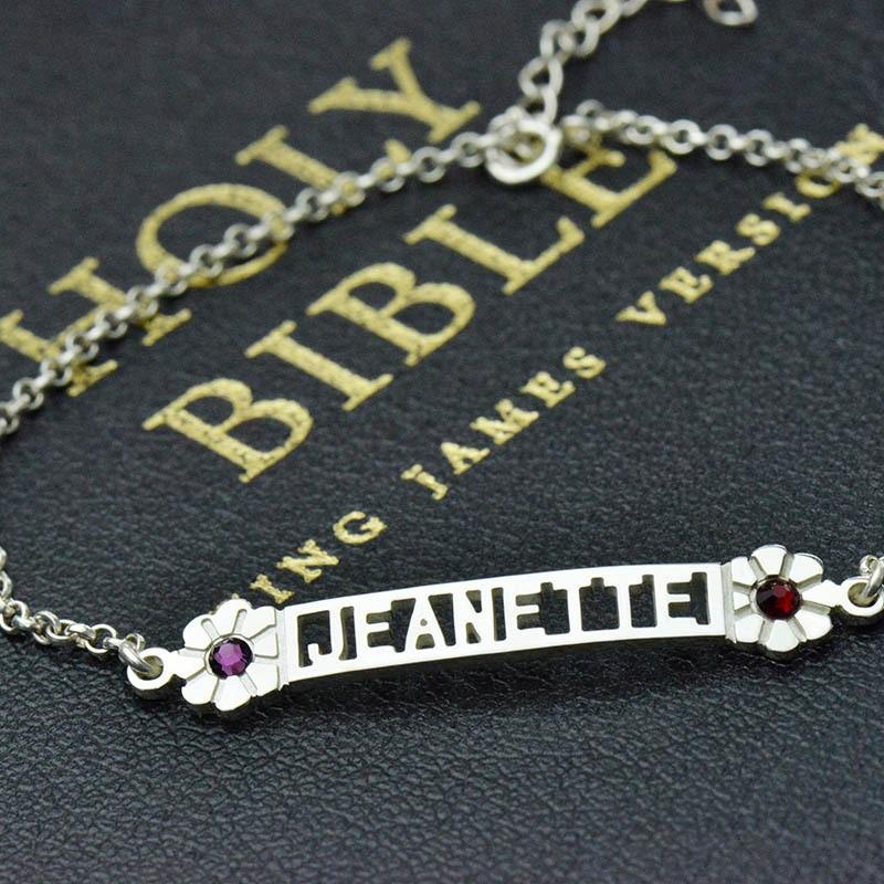 Nameplate Bracelet With Birthstones