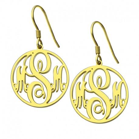 Circle Monogram Earrings
