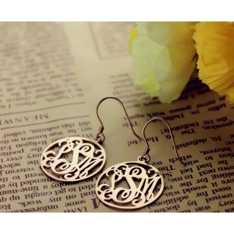 Circle Monogrammed Earrings