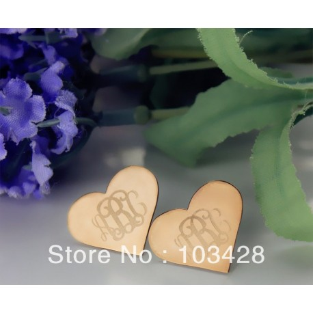 Heart Monogram Earrings