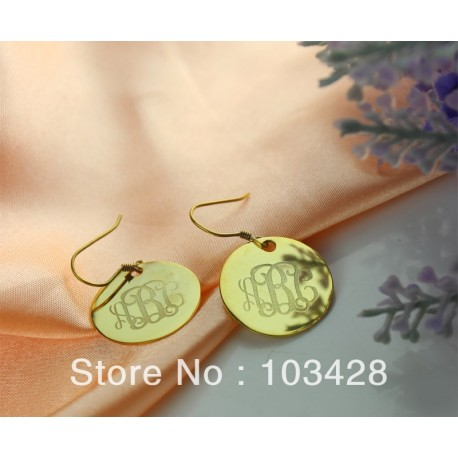 Round Monogram Earrings