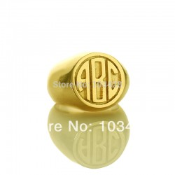 3 Monogram Circle Block Initials Ring