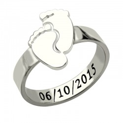 Baby Feet Ring with Name