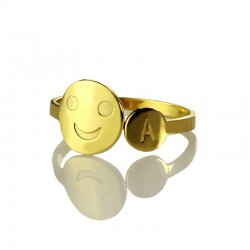 Smiley Face with Initial Ring