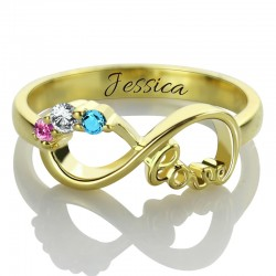 Infinity Ring with 3 BirthStones and Name