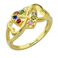 Triple hearth with BirthStones Ring