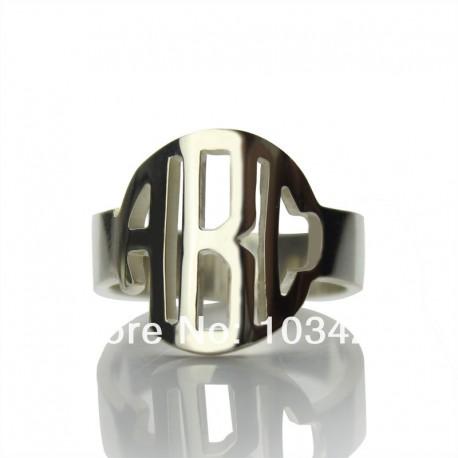 Circle Block Monogram Ring