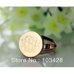 3 Initials Circle Ring
