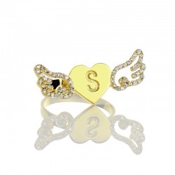 Love Wings with BirthStone and Initial Ring