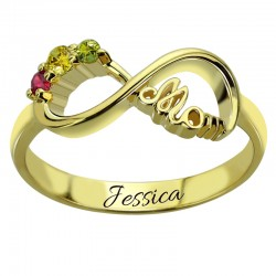 Mom Ring with BirthStones and Name