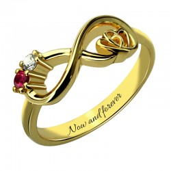 Heart in Heart with BirthStones Ring
