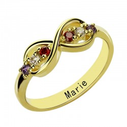 Infinity Ring with BirthStones and Name