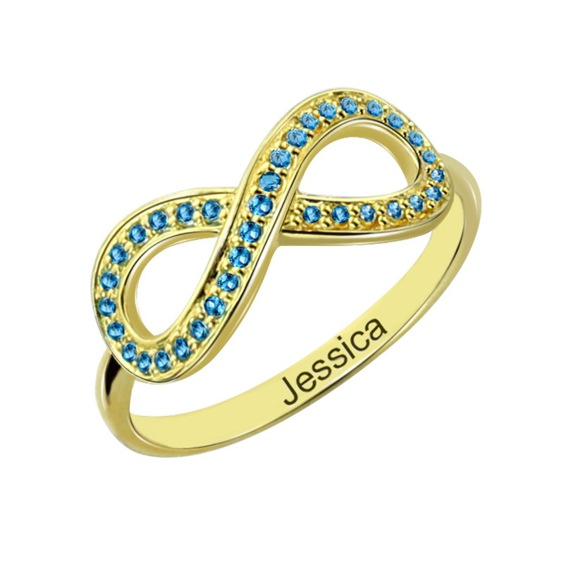 birthstone infinity accent ring with name