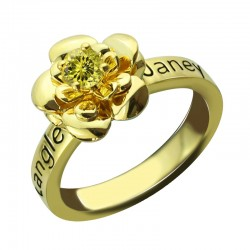 BirthStone Flower with Engraved name Ring