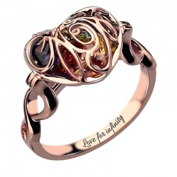 Caged Heart Mother's Birthstone Ring