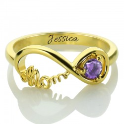 Mother's Infinity Engraved Name Ring