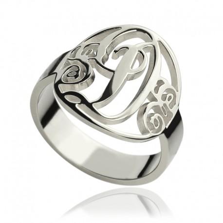 Initial Circle Monogram Ring