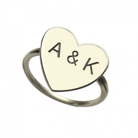 Heart with 2 Initials Monogram Ring
