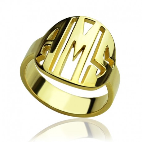 Circle Block Letters Ring
