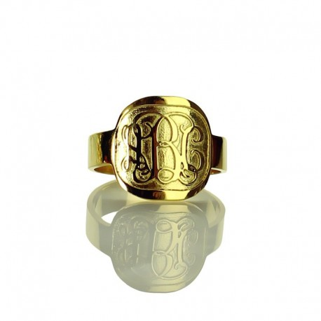 3 Initials Monogrammed Ring