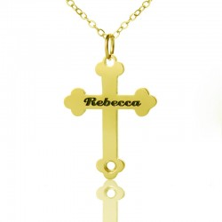 Engraved Name Cross Necklace