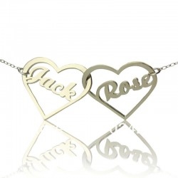 Two Open Heart with Name Necklace