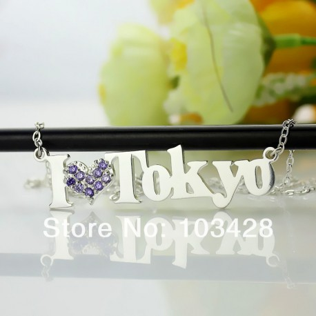 I Love Name Necklace with BirthStone Heart