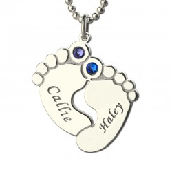 Baby Feet Necklace 2 BirthStones