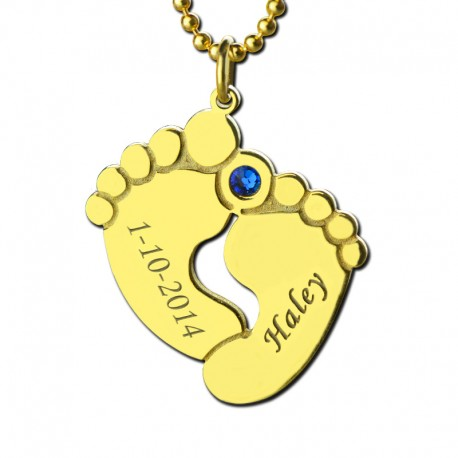 Baby Feet Necklace 1 BirthStone