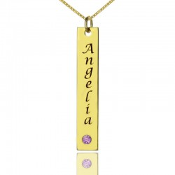 Vertical Bar Necklace with BithStone