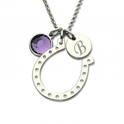 Initial Horseshoe Necklace with Birthstone