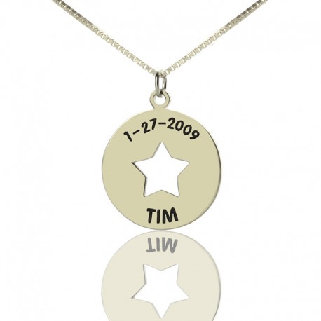 Initial Charm Cut Out Tiny Star Necklace