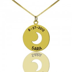 Disc Charm Cut Out Crescent Moon Necklace