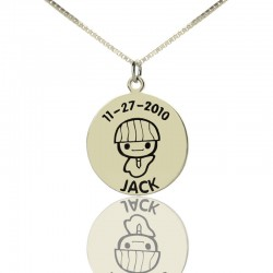 Disc Pendant for Boys with Birthday Necklace