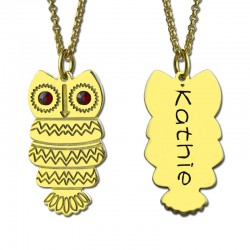 Engraved Name Owl Necklace with BirthStone