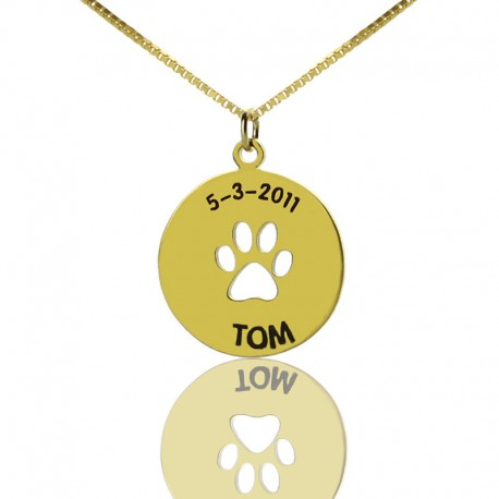 Dog Paw with Date Necklace for Childrens