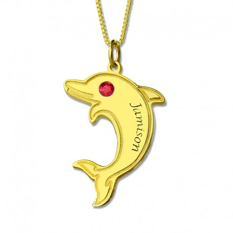 Dolphin Necklace with Birthstone and Name