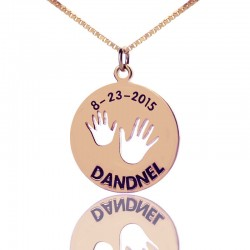Baby Handprint Engraved Necklace