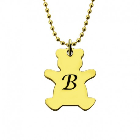 Engraved Teddy Bear Necklace